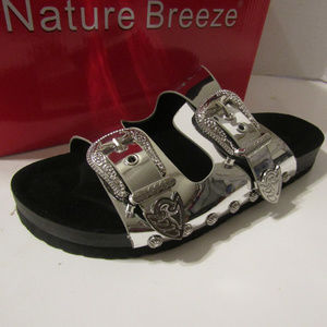NWT NATURE BREEZE Silver Women Sandals SZ 6 7 8 9